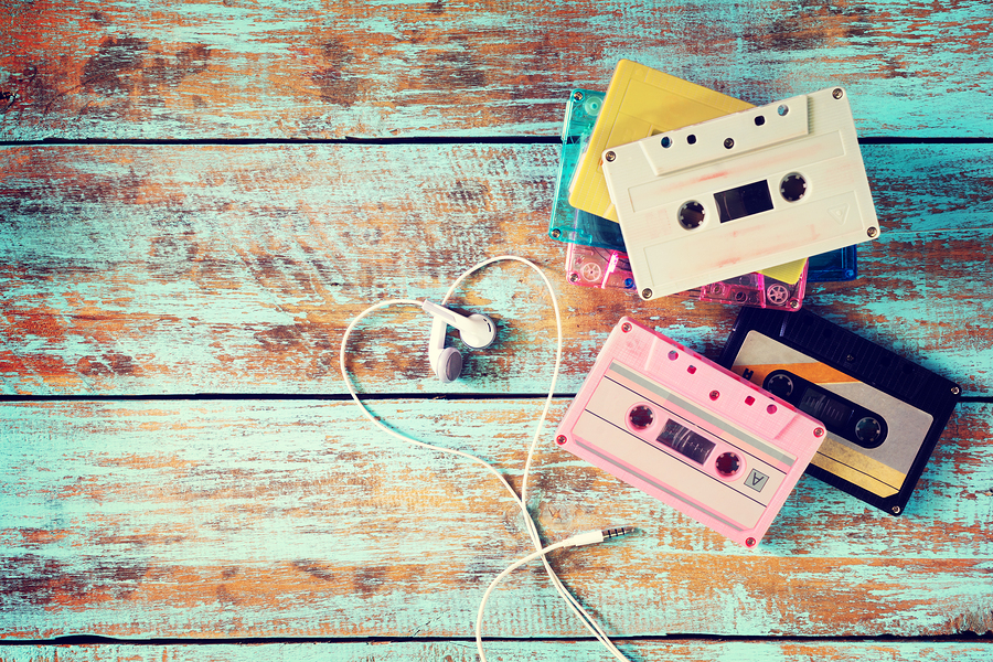 cassettes with ear buds